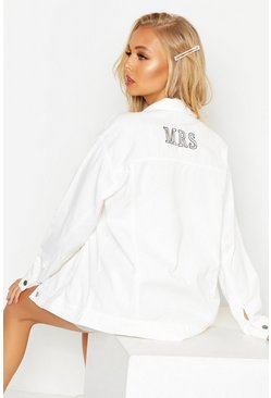 Womens White 'Mrs' Oversized Denim Jacket