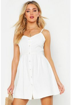 Womens Off white Button Front Strappy Denim Dress