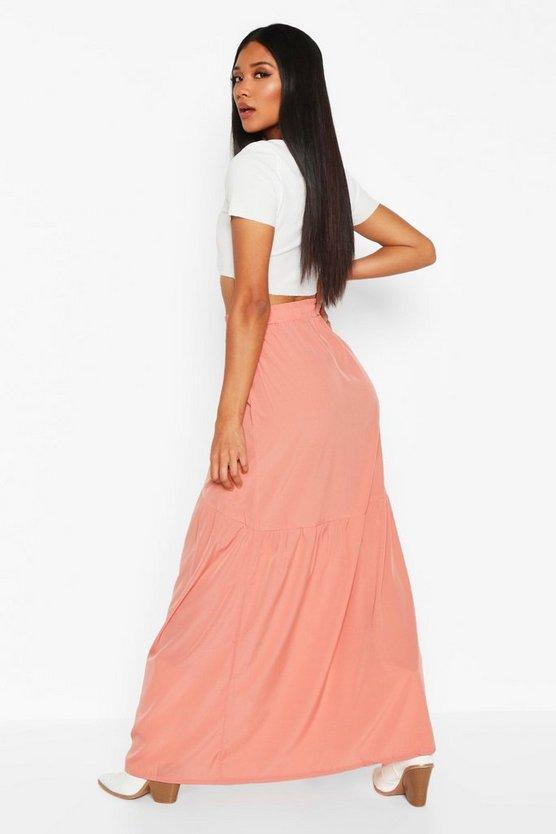 Front Ruffle Hem Maxi Skirt