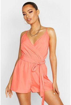 Womens Coral Wrap Front Playsuit