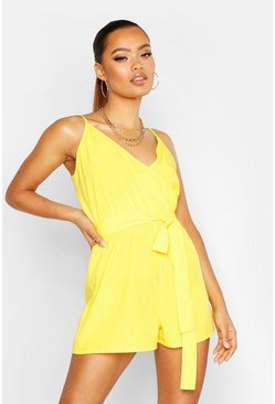 Womens Yellow Wrap Front Romper