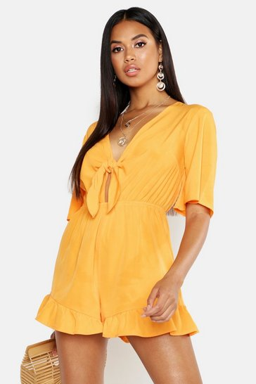 Womens Orange Ruffle Hem Knot Front Playsuit