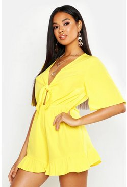 Yellow Ruffle Hem Knot Front Playsuit