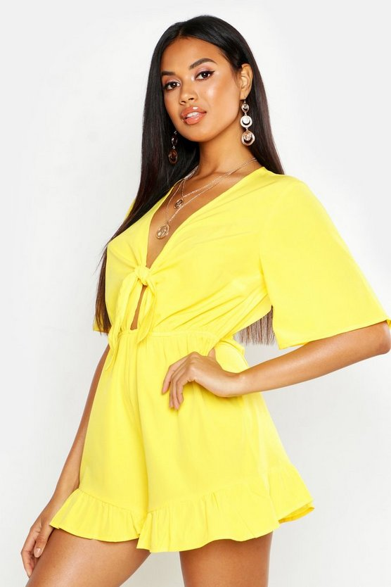 Womens Yellow Ruffle Hem Knot Front Playsuit