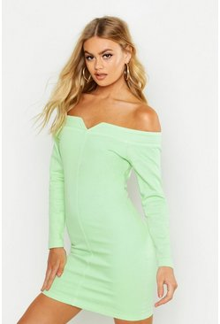 Soft lime Bodycon Off the Shoulder Stretch Denim Dress
