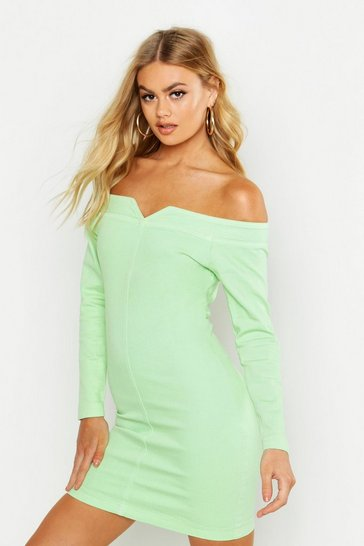 Womens Soft lime Bodycon Off the Shoulder Stretch Denim Dress