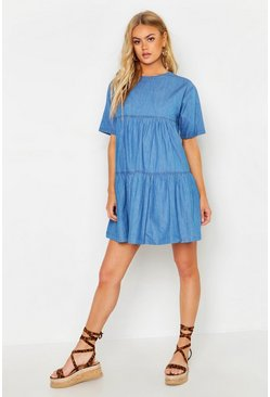 Womens Mid blue Seam Detail Denim Smock Dress