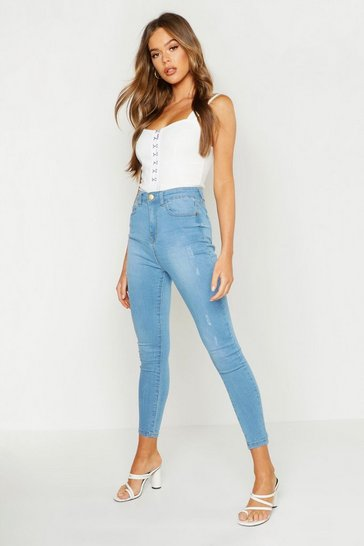 Womens Mid blue High Rise Distressed Skinny Jean