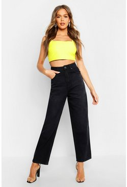 Womens Black High Waisted Wide Leg Jean