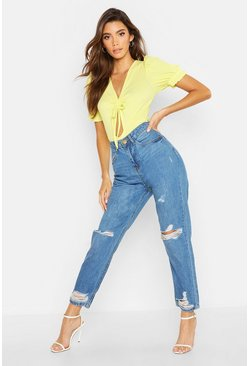 Womens Light blue Mid Rise Ripped Boyfriend Jeans