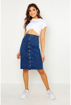 Womens Mid blue Button Front Stretch Midi Denim Skirt