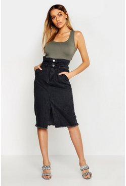 Washed black Paperbag Front Split Denim Midi Skirt