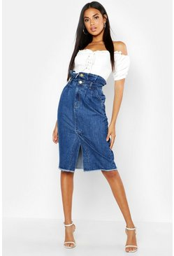 Womens Mid blue Paperbag Split Front Denim Midi Skirt
