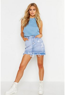 Womens Light blue Distressed Raw Edge Denim Mini Skirt