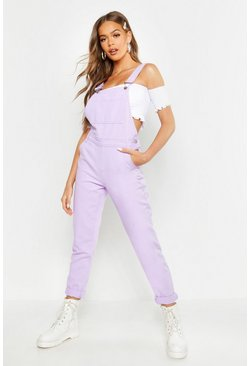 Womens Lilac Boyfriend Denim Overalls