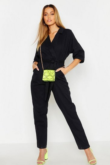 Womens Black Utility Oversized Belted Denim Boilersuit