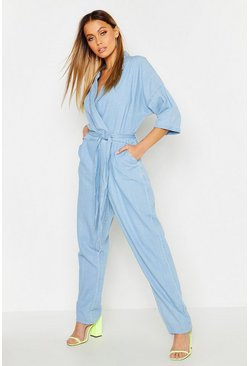 Womens Light blue Utility Oversized Belted Denim Boilersuit