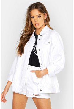 Womens White Oversized Denim Jacket