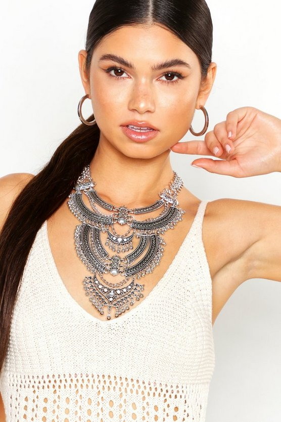 Womens Silver Boho Festival Statement Necklace