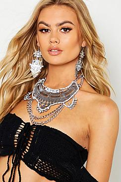 Boho Statement Necklace And Earring Set