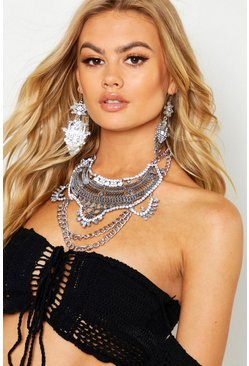 Womens Silver Boho Statement Necklace And Earring Set