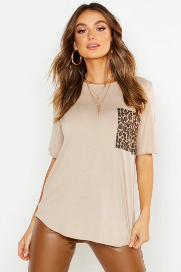Womens Sand Leopard Print Pocket T-Shirt