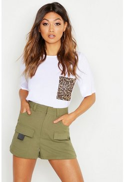 Womens White Leopard Print Pocket T-Shirt