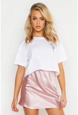 Womens White Cropped Pocket Rose Print T-Shirt
