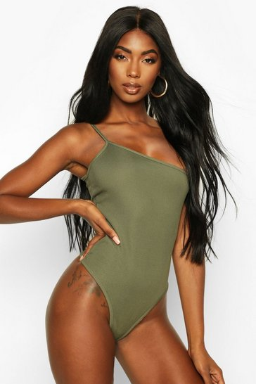 Khaki Basic Rib One Shoulder Bodysuit