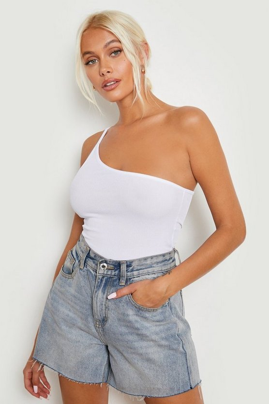 Womens White Basic Rib One Shoulder Bodysuit