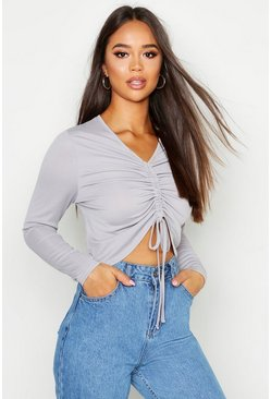 Womens Grey marl Basic Ruched Detail Long Sleeve Top