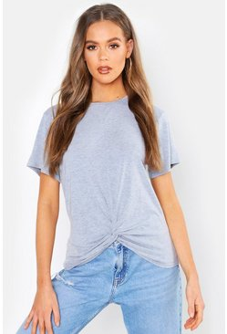 Womens Grey marl Basic Knot Front T-Shirt