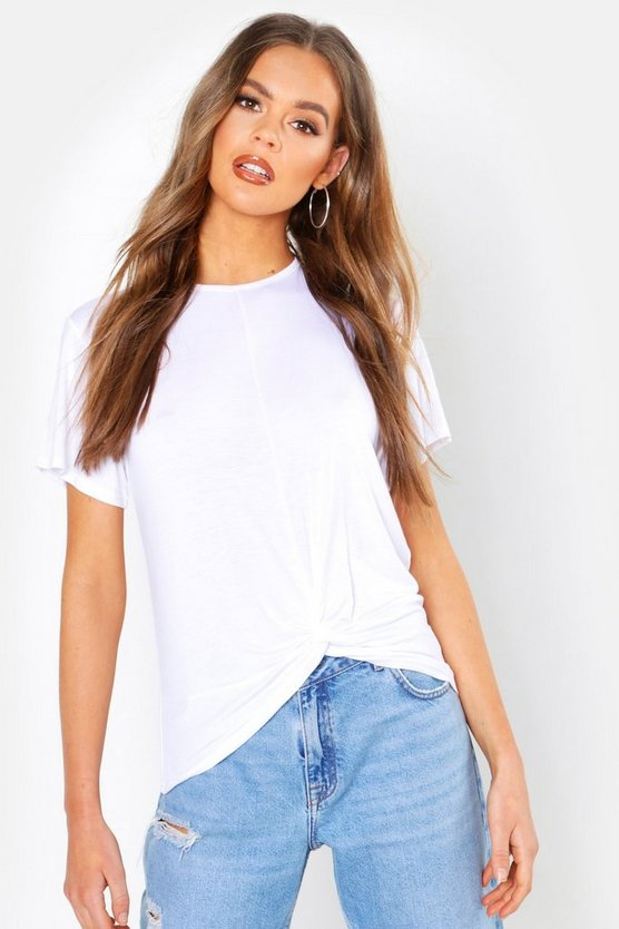White Basic Knot Front T-Shirt