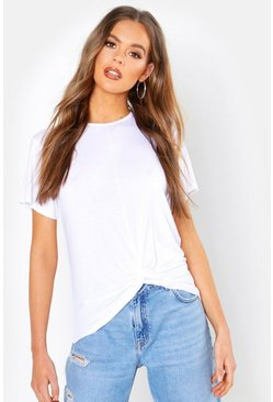 Womens White Basic Knot Front T-Shirt