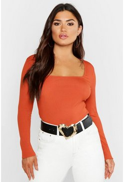 Womens Terracotta Basic Extreme Square Neck Rib Top