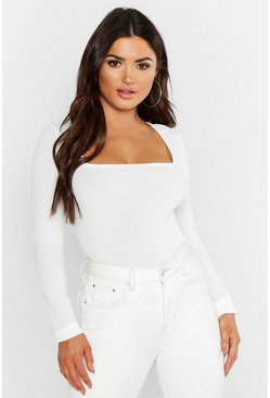 Womens White Basic Extreme Square Neck Rib Top