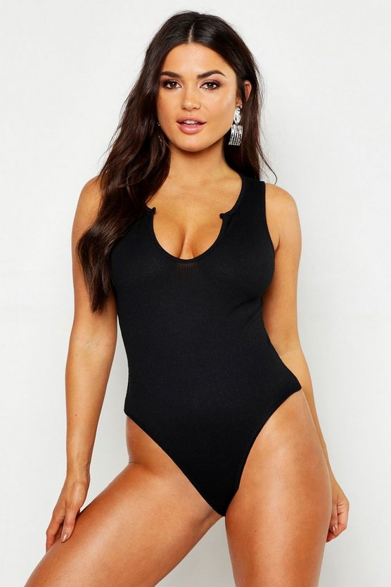 Womens Black Basic Notch Neck Plunge Bodysuit