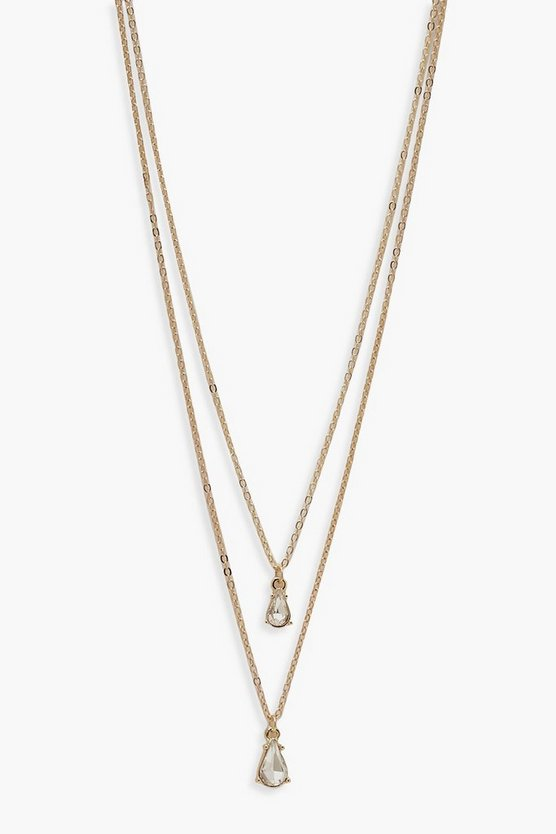 Womens Gold Simple Diamante Layered Necklace