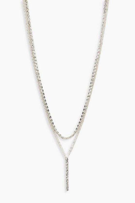 Womens Silver Diamante Choker & Bar Layered Necklace