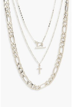 Womens Silver Chunky Chain & T-Bar Layered Necklace