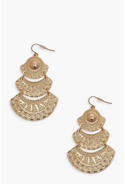 Womens Gold Boho Drop Earrings