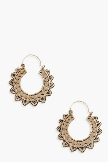 Womens Gold Boho Hoop Earrings