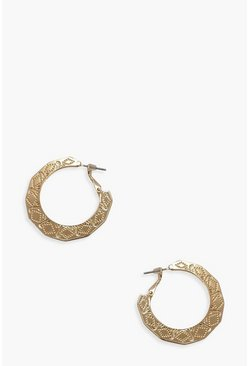 Womens Gold Etched Simple Hoops