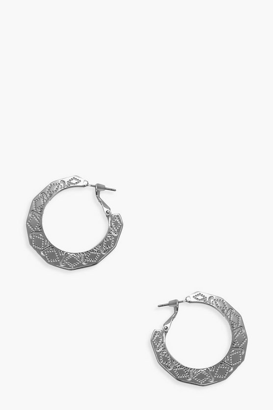 Womens Silver Etched Simple Hoops