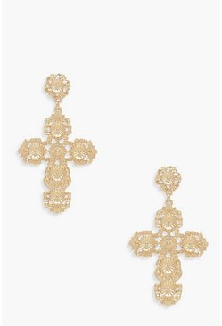 Womens Gold Ornate Cross Statement Earrings