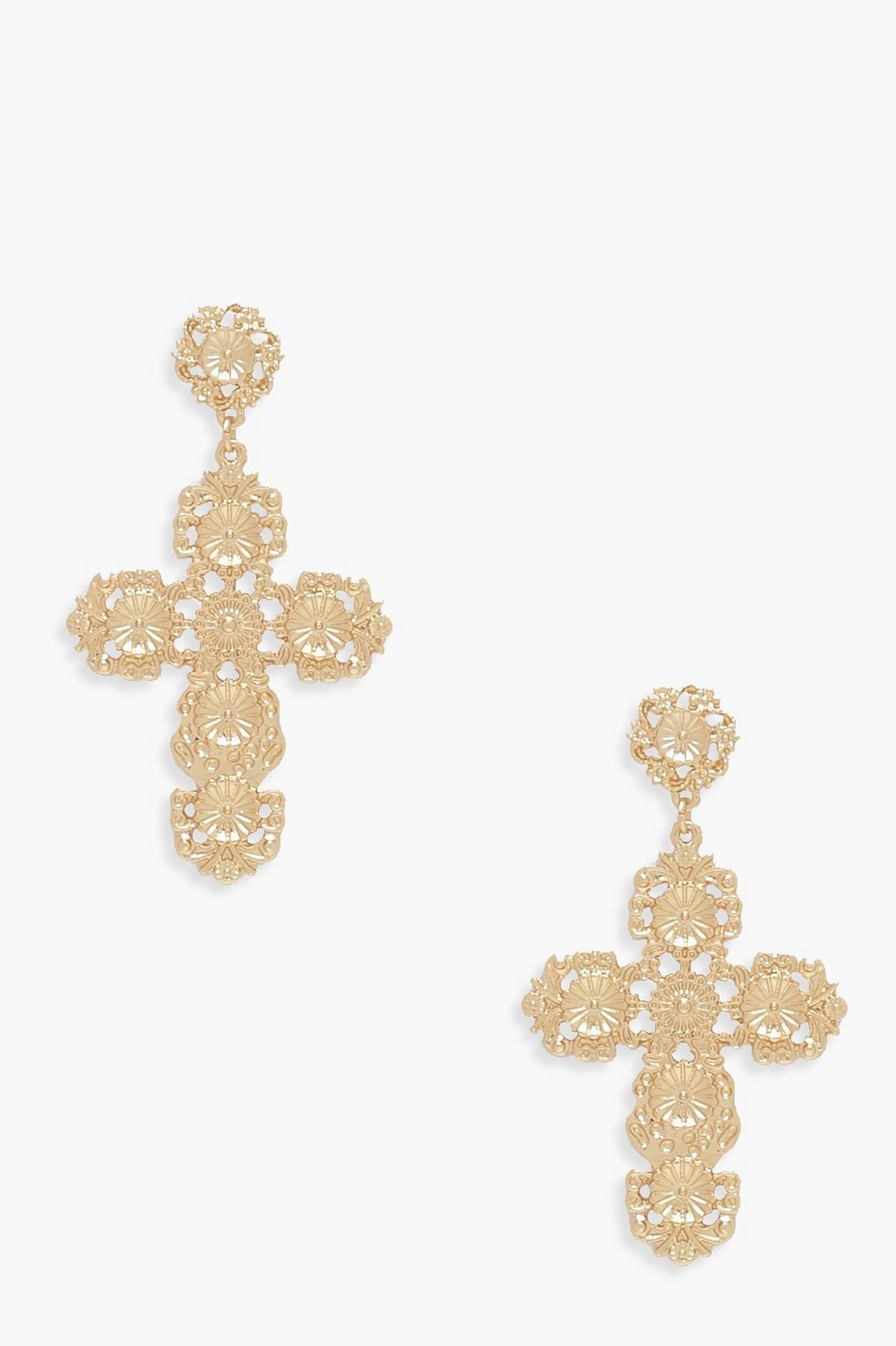 Ornate Cross Statement Earrings by Boohoo