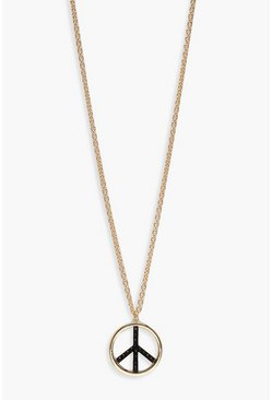Womens Gold Peace Pendant Necklace