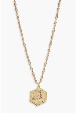 Womens Gold Hexagon Sovereign Necklace
