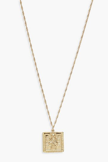 Gold Square Sovereign Necklace