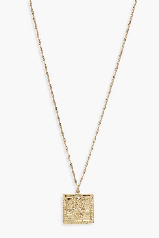 Womens Gold Square Sovereign Necklace